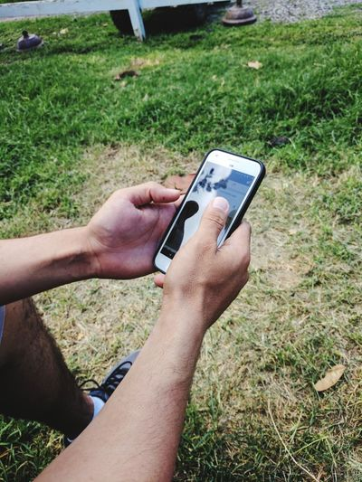 Close-up of man using mobile phone in grass