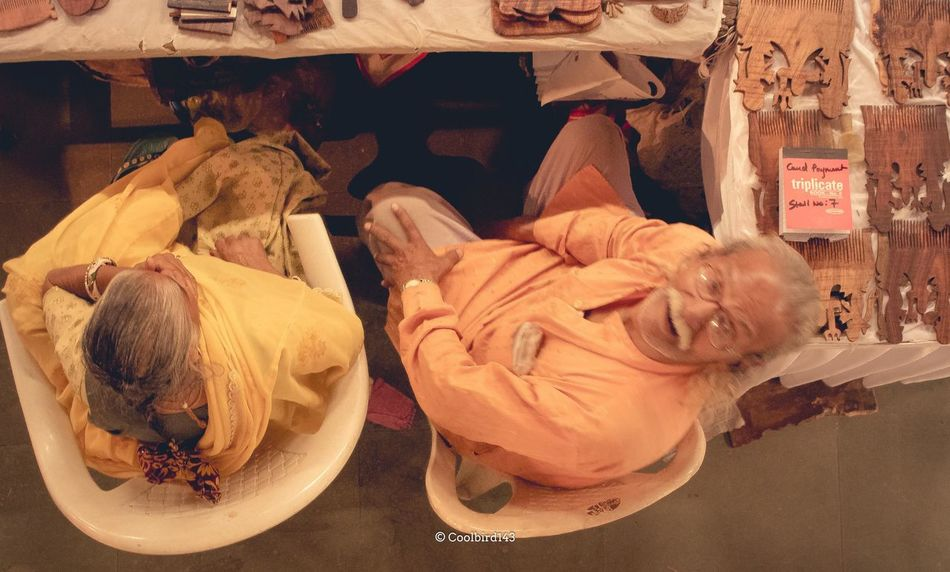 Indian Culture, Exhibition, Kala Vaarso 2016, Surat, India. Close-up Day Food Food And Drink Freshness Healthy Eating Indian Couple Indoors  No People Old Couple Old Man Seller Top Angle View