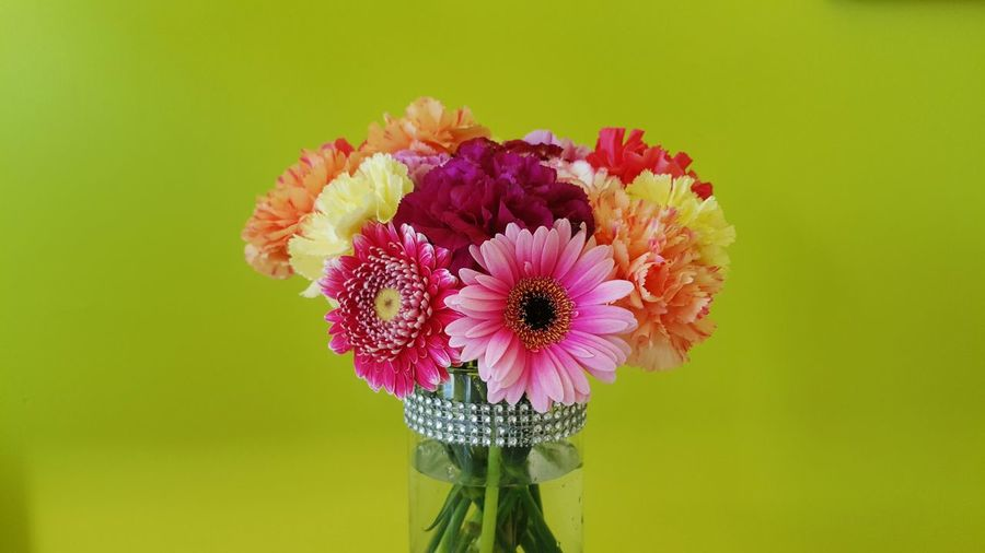 Close-up of colorful flowers in vase against green background