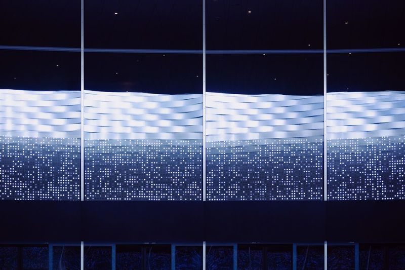 Blue Electricity  Lights Technology Technology Everywhere Glass - Material Reflection Monitor Pattern No People Shape Full Frame Backgrounds Blue Indoors  Design Built Structure Architecture Geometric Shape Digital Composite