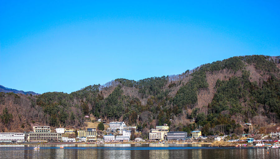 Scenic view of river and mountains against clear blue sky