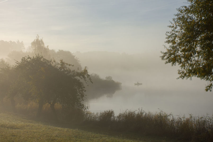 Beauty In Nature Boat Fisherman Fog Landscape Maar Misty Morning Nature Outdoors Schalkenmehren Schalkenmehrener Maar Tranquil Scene Tranquility Water