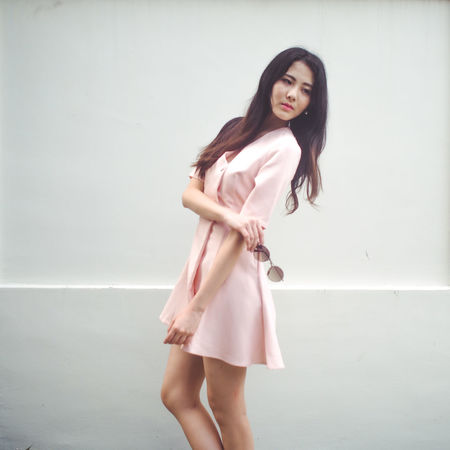 Adult Adults Only Beauty Black Hair Day Fashion Fashion Photography Full Length Long Hair Nature One Person Outdoors People Pink Pink Dress Portrait Portrait Of A Woman Portraits Shades Smiling Three Quarter Length White Background Women Women Who Inspire You Young Adult