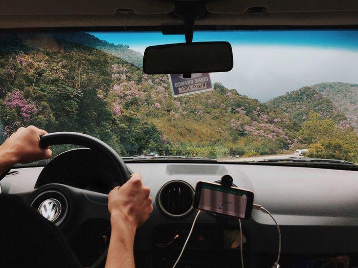 Woman using smart phone in car