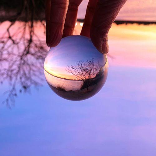 Twilight in a lensball⚗️⚗️⚗️ Fremont Lake Elizabeth Lensball Sunset Sky Sphere