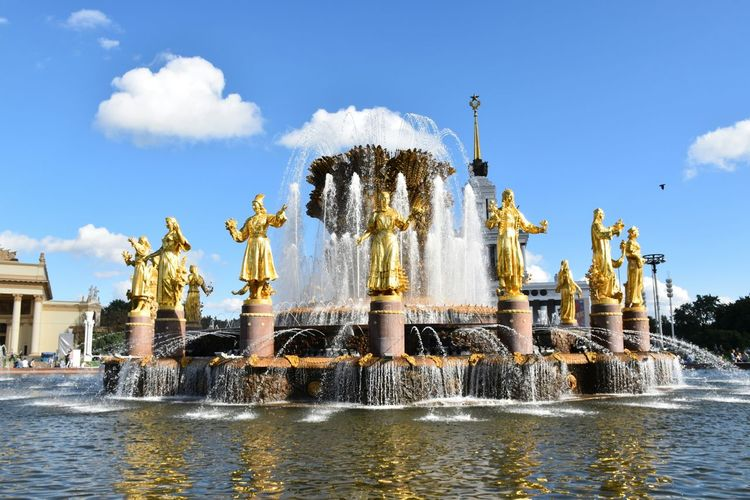 Holiday in Russia Moscow, Москва Fountain, Water, Spurt, Lights, Round, Circle, Water Refections