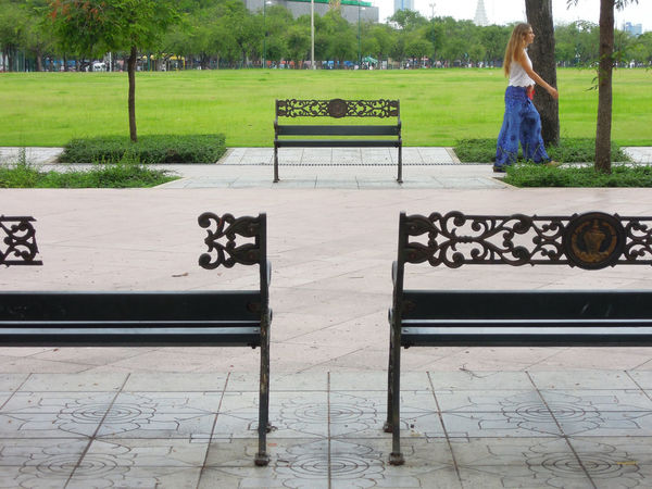 Sanam Luang Bench Chair Day Field Grass Green Greensward Landscape Large Lawn Outdoors Sanam Luang Sanam Luang Bangkok Sward The Pramane Ground