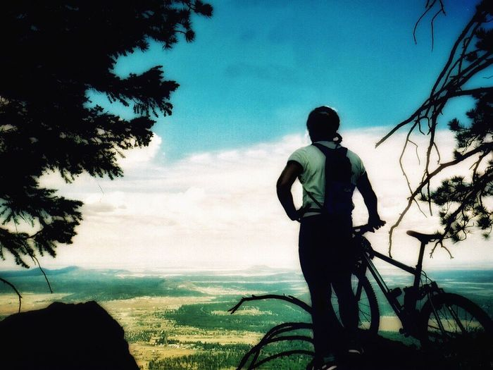 Enjoying the view from 9,000 feet. On The Bike Mountain Biking Mountain Bike Self Portrait Mt. Elden Flagstaff Flagstaff Az On Your Bike