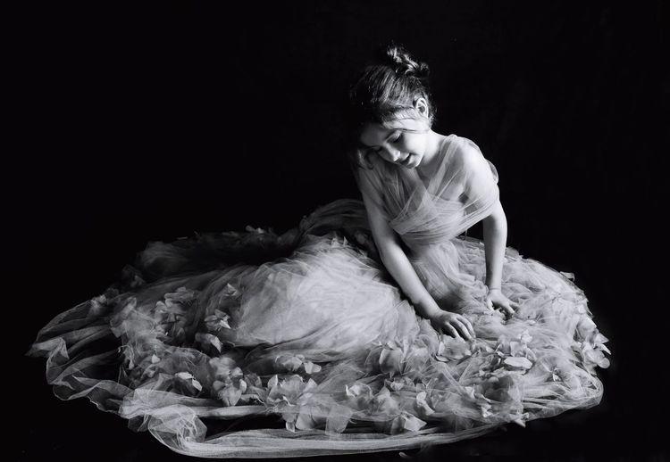 Pretty Petty Girl  Black Background Studio Shot Young Women Doll Wedding Dress Wedding