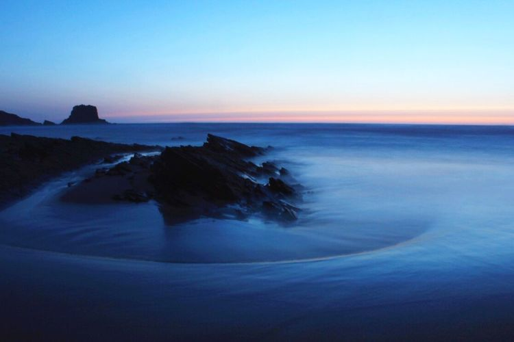 Zambujeira do Mar, Portugal | 21:09 Sea Sunset Clear Sky Blue Long Exposure