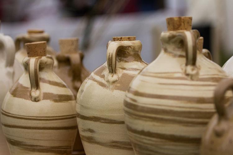 Close-Up Of Ceramics Jars