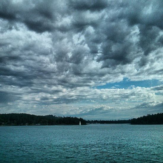 Made it to Friday Harbor . Dramatic Ferry Ocean Pugetsound Washington Cloudscape Sailing