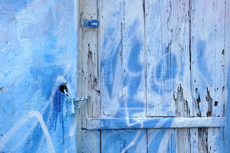 Old Patina door and wall with chain, locker and latch Locker Architecture Backgrounds Blue Built Structure Close-up Day Deterioration Door Entrance Latch Lock Metal No People Old Outdoors Padlock Patina Pattern Protection Safety Security Textured  Weathered Wood - Material