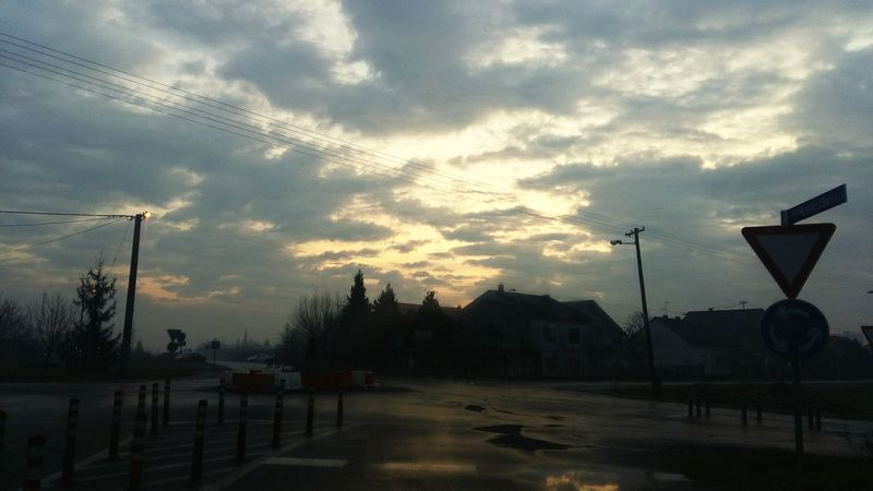 Winter Sunrise Clouds Croatia Slavonski Brod Road