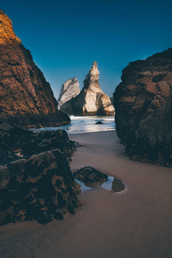 Atlantic Ocean Beach Beautiful View Beauty In Nature Between Blue Blue Sky Clear Sky Clear Sky Coast Feeling Landscape Lonesome No People Ocean Praia Pure Relaxing Moments Rocks And Water Sea Shore Steep Stones Tranquil Scene Urban Nature