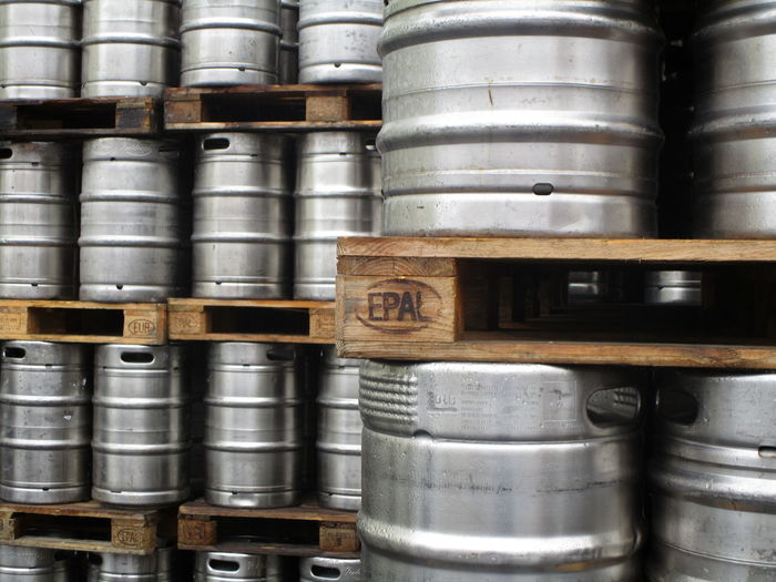 Kegs of beer in store