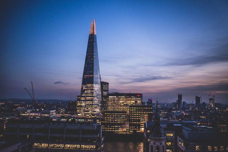 London Shard Architecture Cityscape Sundown
