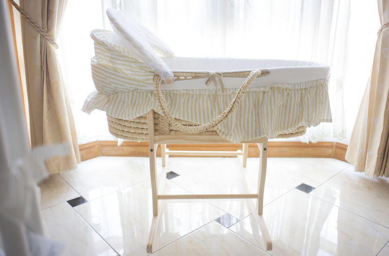 Craft Cot bed in baby room. Chair Indoors  Seat Curtain Home Interior White Color Furniture No People Flooring Absence Domestic Room Day Window Empty Home Textile Architecture Home Showcase Interior White Baby Lifestyles Baby Bed Kids Kid Cozy Bedroom Luxury