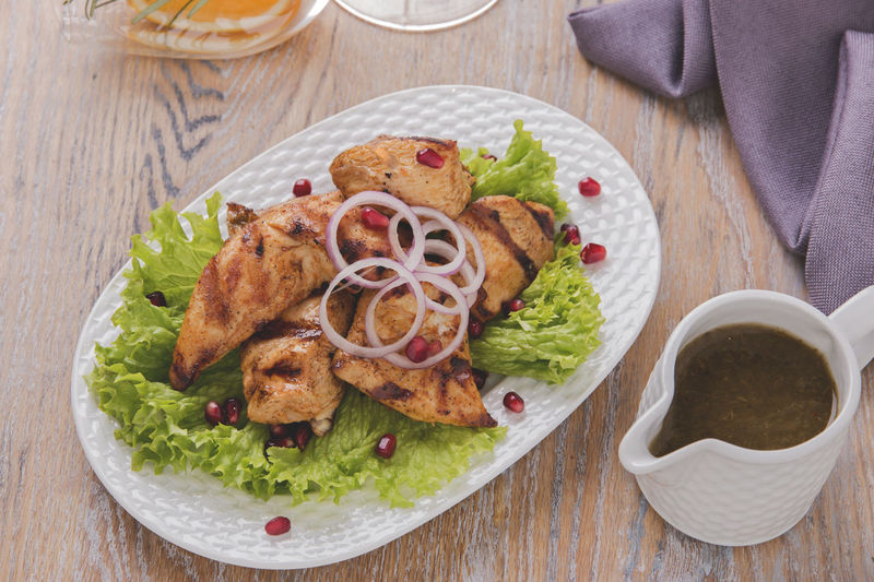 Chicken Chicken Fillet Close-up Day Directly Above Food Food And Drink Freshness Grilled Meat Healthy Eating High Angle View Indoors  Kebab No People Plate Ready-to-eat Serving Size Table