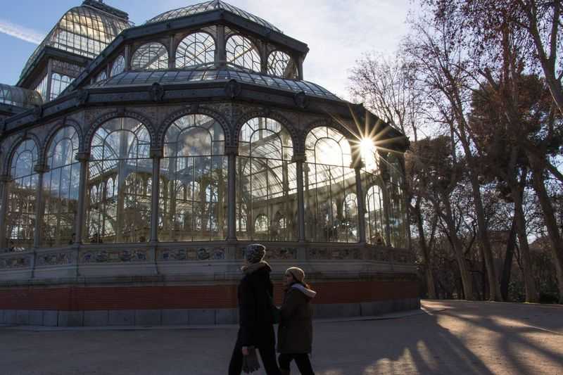 Madrid, Cristal Palace shines with the winter sun Travel Destinations Built Structure Architecture Day Madrid Retiro Park Sun Star Sunlight Cristal Greenhouse