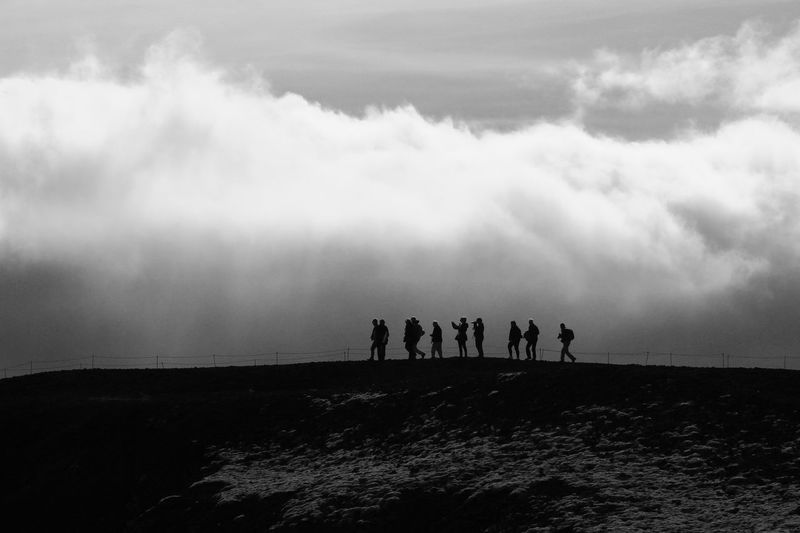 Monochrome Photography Iceland Icelandic Iceland Trip Islandia Silhouette Men Cloud - Sky Lifestyles Nature Outdoors Tranquility Beauty In Nature Scenics Tranquil Scene Physical Geography Volcano Crater Grábrók