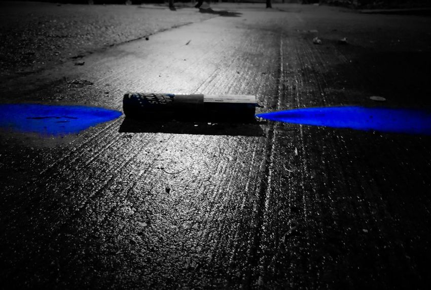 Asphalt Bluecolor Blackandwhite Photography Blackandwhite Colored Paintphotography  Paint Blue Urbex Cityscape Wet No People Day Outdoors Water