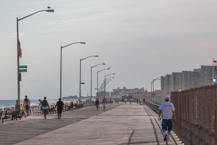 People walking on footpath