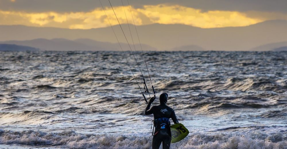 Contemplation Weather Cold Washington State One Person Kite Boarding Kite Surfing Water Sports Winter Day