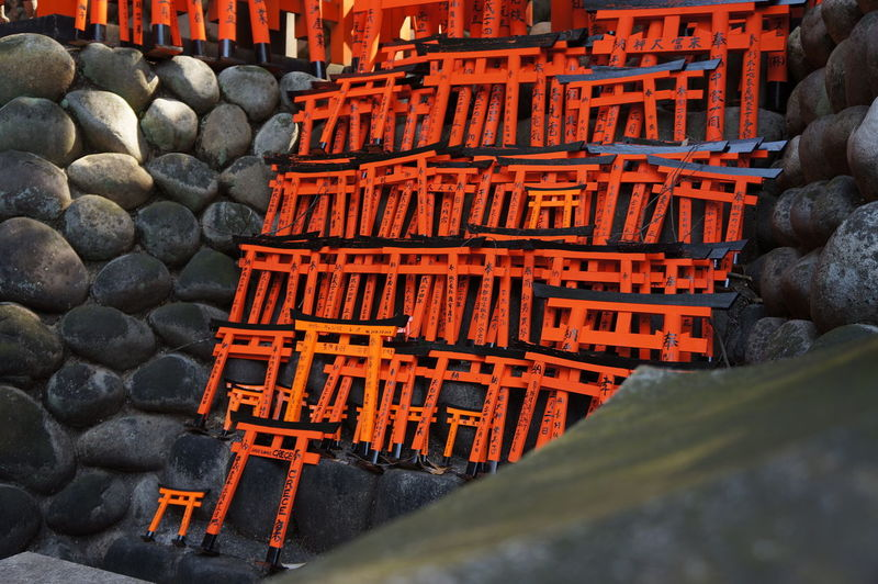 Inari Shrine Close-up Day Large Group Of Objects No People Orange Color Outdoors Red