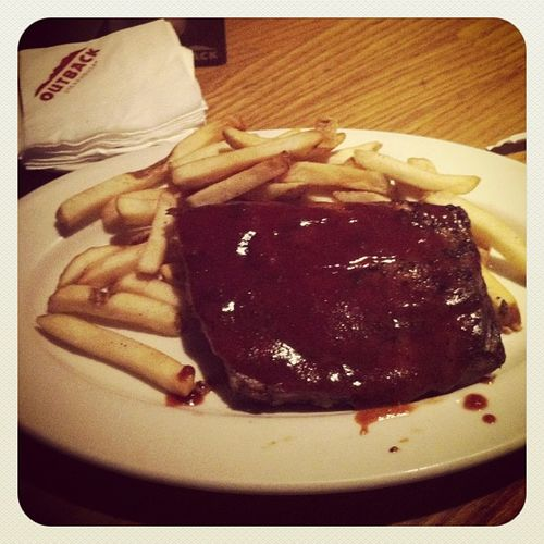 Ribs & fries... 😃 Outback Instafood Instadinner Food ribs