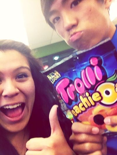 My two favorite things in the world. Peach Rings and My Asian. ❤
