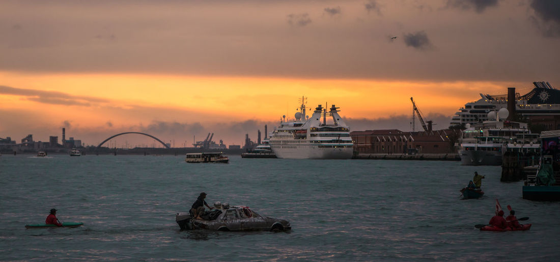Venezia Funny Boat Harbor View Mode Of Transport Ship Sky Sunset Water