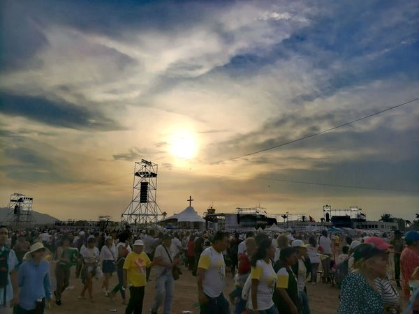 Misa del Papa Francisco - Lima 2018 Large Group Of People Sunset Cloud - Sky Sky Beach Crowd People