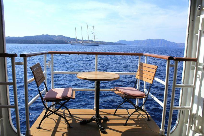 Chair Sea Mountain Table Outdoors No People Luxury Scenics Cruiseship Cruise Summer Exploratorium
