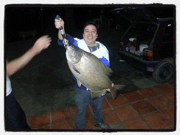 mini man and big fish Fisherman's Friend