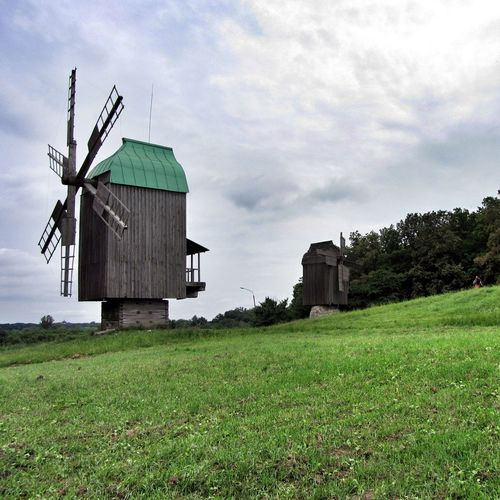 Pirogovo Open Air Museum Outdoors Environmental Conservation Rural Scene Traditional Windmill Wooden Windmill Wood - Material No People Cloud - Sky Nature Green Color Old Building  Old But Awesome Kiev Ukraine Taking Photos Travel Destinations Built Structure Day From My Point Of View EyeEm Nature Lover