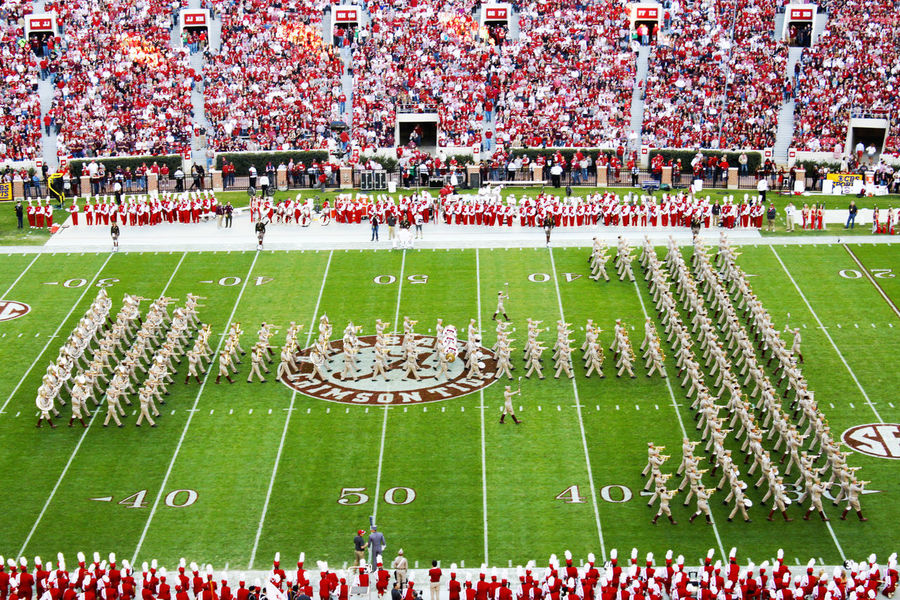 Texas A&M Fightin' Texas Aggie Bands halftime show in Bryant Denny stadium in 2012 Bryant Denny Stadium Crowd Football Grass Green Color Halftime Large Group Of People Spectator Stadium Texas A&M Fightin' Texas Aggie Band Texas A&M ❤ Tuscaloosa The Color Of Sport