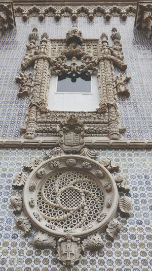 Ornate Pattern History Architecture Close-up Full Frame Day Palacio Da Pena - Sintra Sintra (Portugal) Building Exterior Built Structure Sculpture Detail Sculpture Window Old Decoration