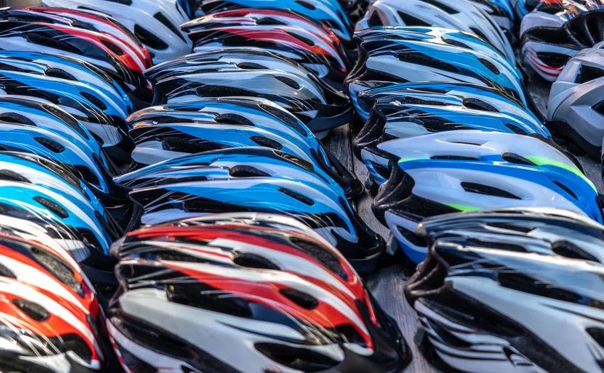 Full frame shot of multi colored helmets