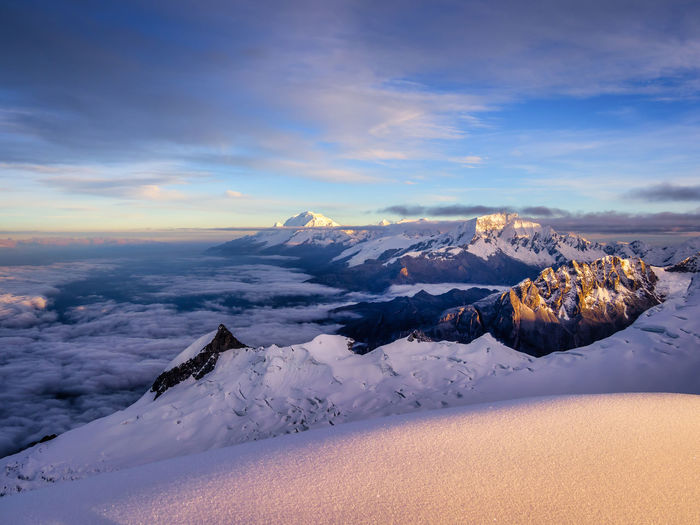Beauty In Nature Scenics - Nature Cold Temperature Winter Snow Tranquil Scene Cloud - Sky Sky Tranquility Environment Landscape Mountain Non-urban Scene Idyllic Snowcapped Mountain Nature No People Sunset Covering Mountain Peak