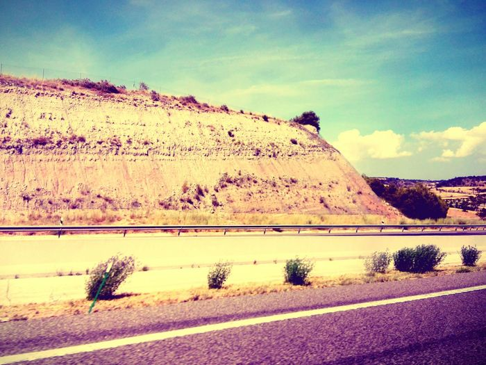 SPAIN Holiday♡ Trip Crash Barrier Road Trip Country Road No People Landscape Car Trip Rock Formation Mountain Spain Is Different Travel Transportation Countryside