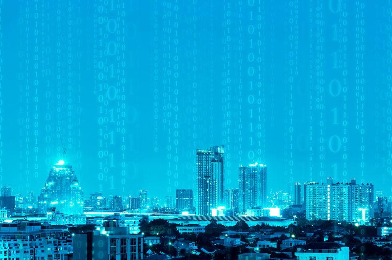 Byte City IT Lines Recieve Signal Wave Bigdata Binary Data Digital Future Internet Media Message Network Technology Transcaction