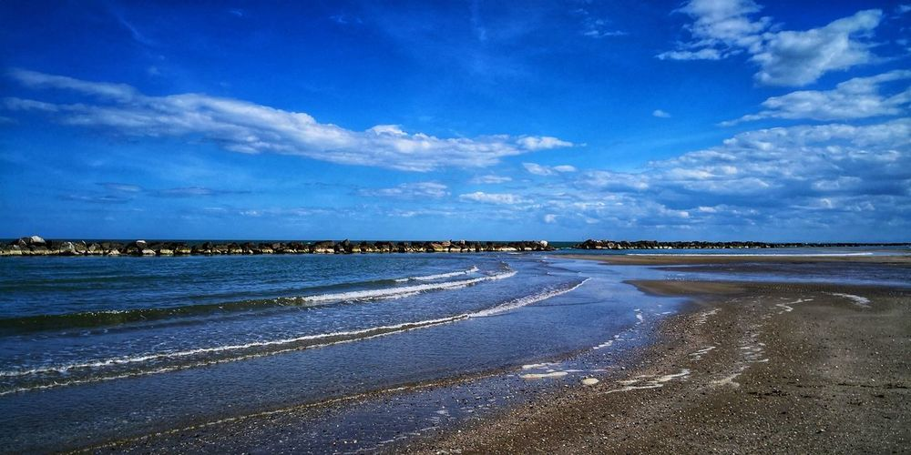 Spring Has Arrived Clouds And Sky EyeEm Nature Lover Taking Photos Tranquility Tranquil Scene Blue Sky Cloud Sky And Clouds Sea Seascape Seaside Water Low Tide Sea Beach Blue Salt - Mineral Sky Landscape Seascape Tide Coastline Calm Horizon Over Water