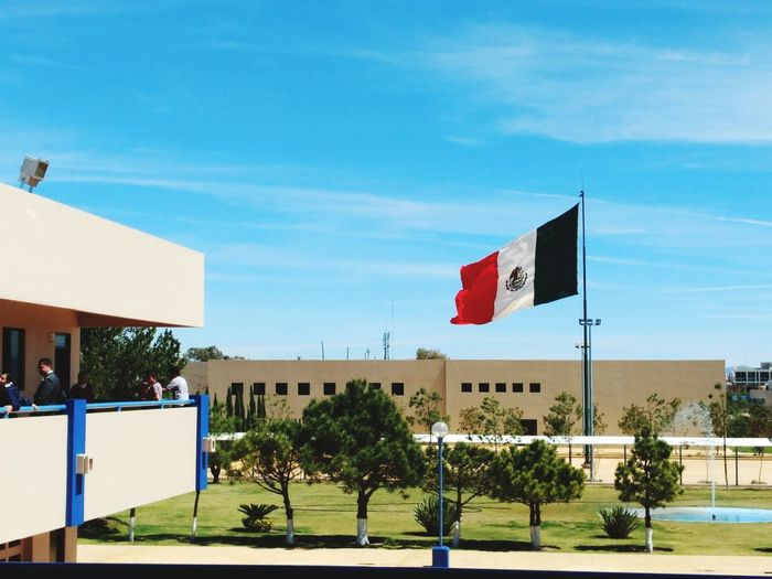 Architecture Sky No People Outdoors Tree Flag Day Cloud Blue Clouds And Sky Landscape DurangoMX School La Salle Colegio Guadiana Mexico in Durango Dgo. Mx.
