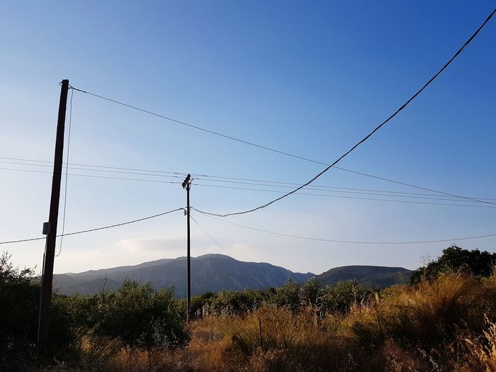 Sky Blue Sky Sunny Day Sunset Telephone Line Mountain Cable Clear Sky Electricity  Rural Scene Power Line