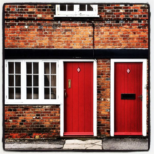 Door Red Double Doors Brick Doors Warm Architecture Brickswork Beaulieu  England