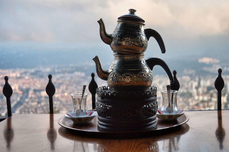 Close-up of drink on table, turkish tea