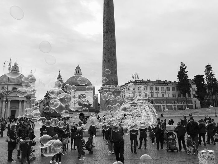 Piazza del Popolo Large Group Of People Built Structure Sky Architecture Building Exterior Leisure Activity People Day Lifestyles