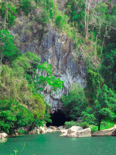 Beauty In Nature Cave Lake Laos Mountain Nature Nature Photography Opening Travel Trees Water