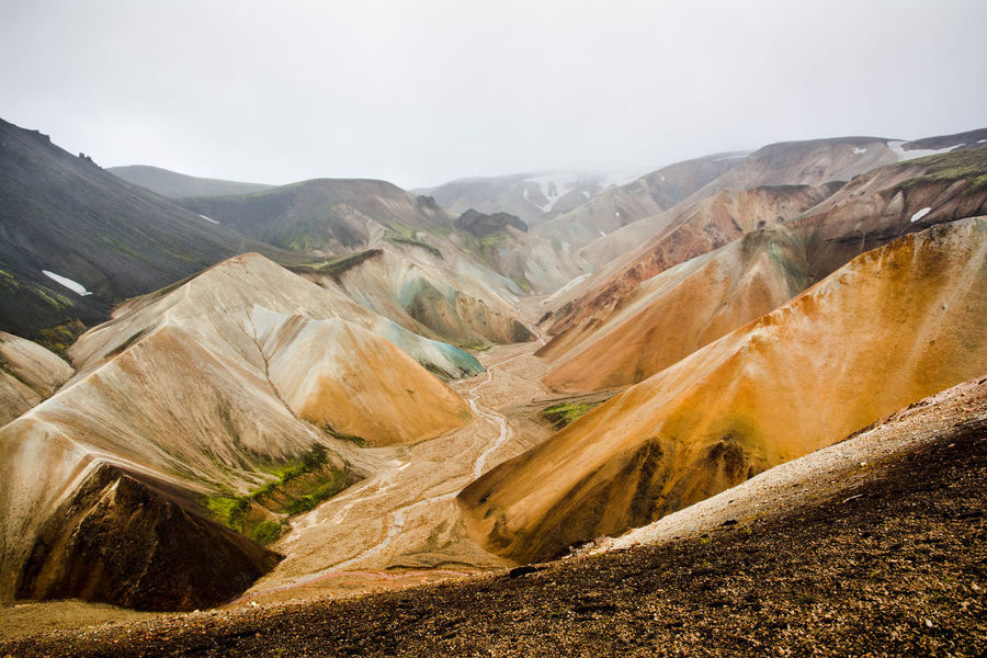 Iceland Arid Climate Beauty In Nature Climate Day Environment Formation Geology Idyllic Land Landmanalaugar Landscape Mountain Mountain Range Nature No People Non-urban Scene Outdoors Physical Geography Remote Rock Scenics - Nature Tranquil Scene Tranquility Travel Destinations